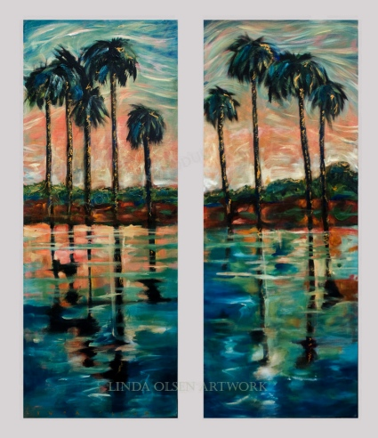 2 Skinny palm reflections 22x50