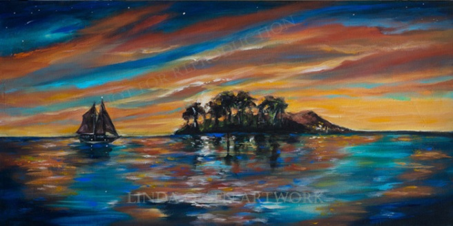 A Tropical Island at Sunset 30x15