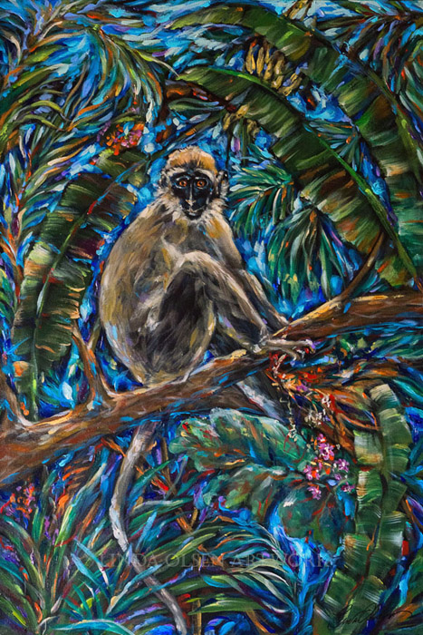 Monkey Eating Berries 24x36