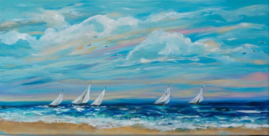 Sailing Close to Shore 30x15 at attic