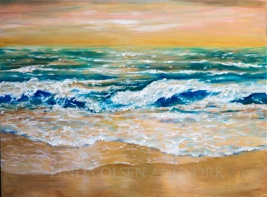 Surf in golden light 40x30
