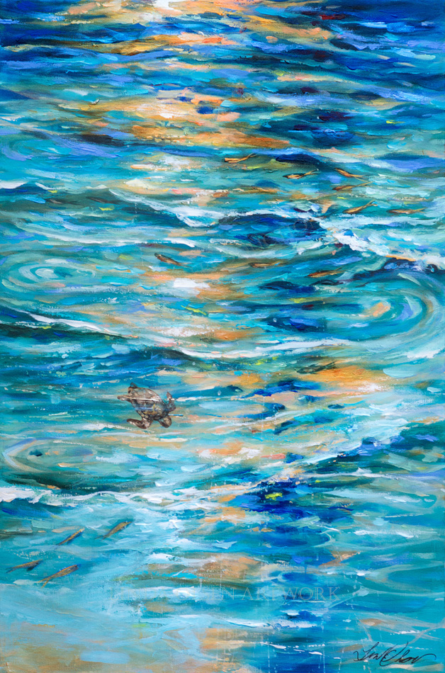 Baby Turtle in Shallows 24x36