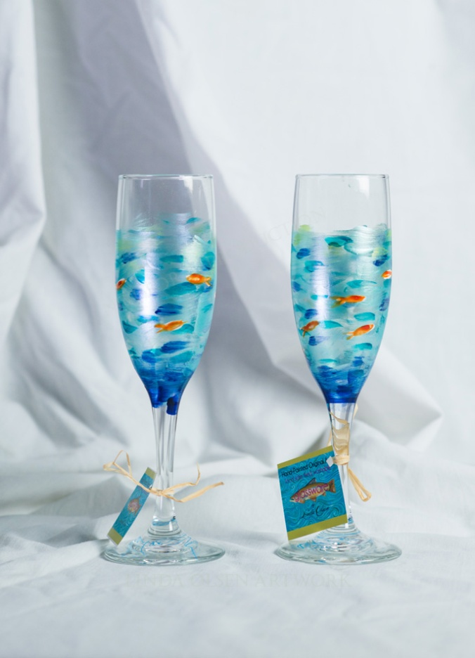 Fish champagne flutes