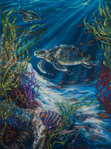 Coral Reef Turtle 36x48