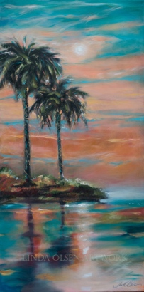 Palm Reflections Magical Evening 24x48