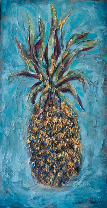Pineapple Teal 12x17