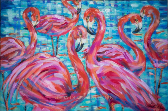 Flamingoes and Goldfish 36x24