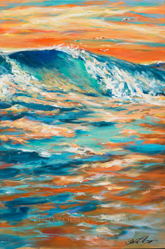 Bodysurfing at Sunset 36x24