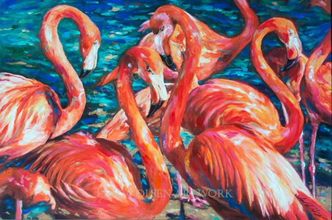 Flamingo Gossip 36x24