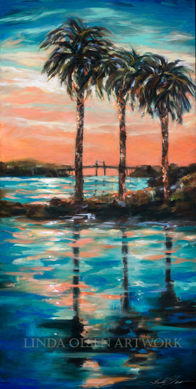 Palm Reflections w Bridge48x24_1