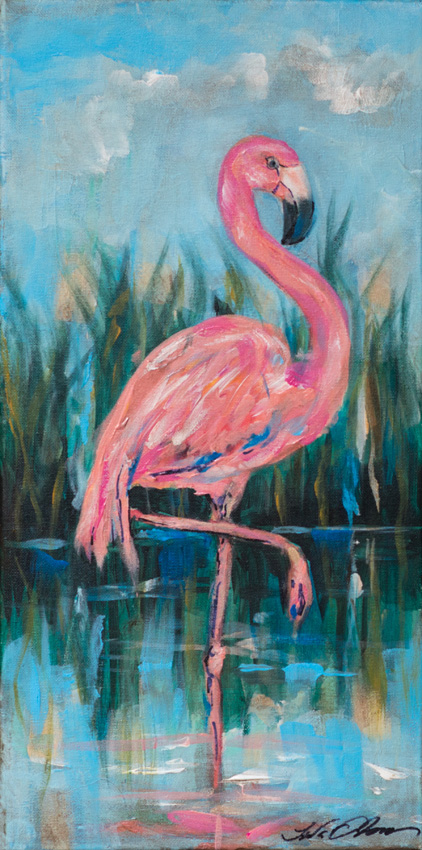 Flamingo in pond20x10