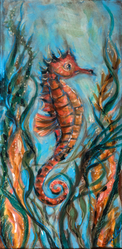 Seahorse with kelp 20x10