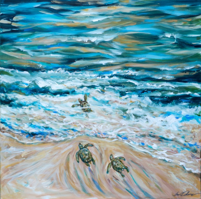 First Plunge Baby Sea Turtles 36x36