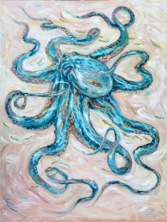 Teal Octopus a48x36