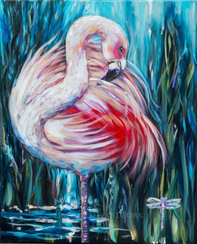 Flamingo Preening 30x24