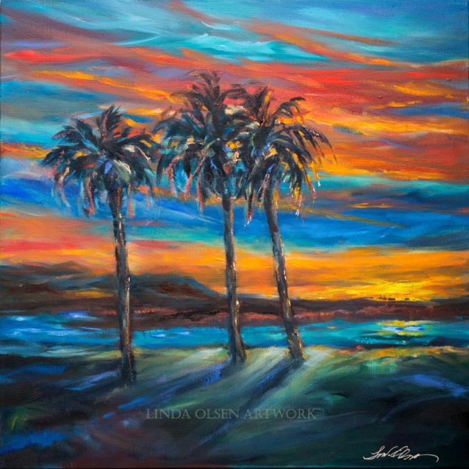 Three Palms at SUnset 24x24
