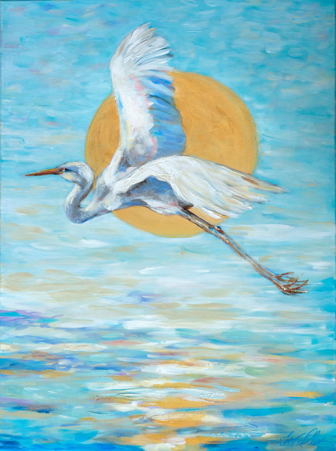 Egret in Flight 40x30