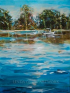 Fishing on the River 14x11