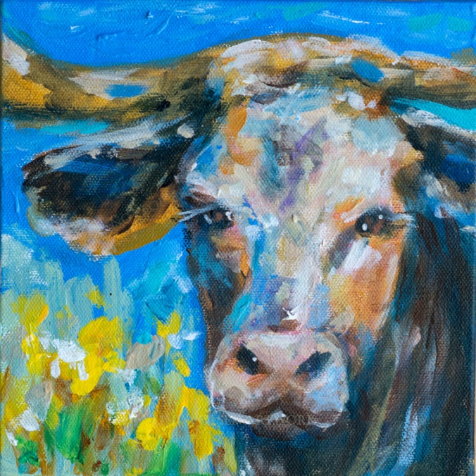 Cow in field 8x8